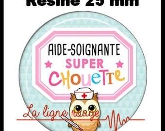 Round cabochon glue resin 25 mm - help Soignante Super owl (2248) - nurse, doctor, medical