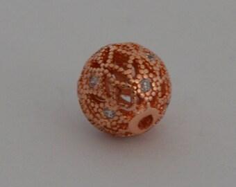 1 round cubic zirconia 10mm gold Brass filigree bead pink