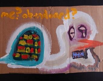Original Acrylic Painting Weird Ugly Creepy Turtle Snowman Slug on Cardboard