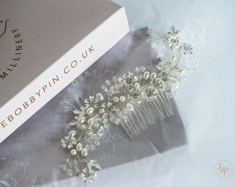 Silver Bridal Hair Comb/Wedding Comb/Bridal Comb/Silver Bridal Accessories/Wedding Accessories/Bride Comb/ Tiara/Pearl Pin