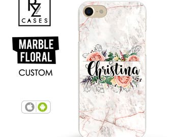 Rose Marble Phone Case, Marble iPhone 7 Case, Personalized Gift for Her, Floral Marble Case, iPhone 7 Plus, Floral, iPhone 6S, Custom Case