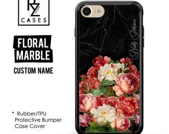 Floral Phone Case, Marble Case, iPhone 7 Case, iPhone 6s, Floral iPhone Case, iPhone 5, Gift for Her, 7 Plus, Rubber Case, Bumper