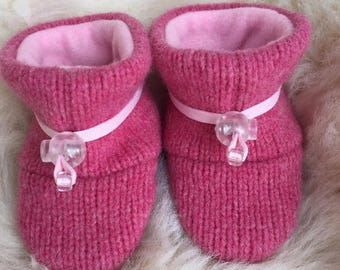 Pink booties from Toggle Toes, non-slip soft sole shoe, in infant 4-12 months or baby shoe size 1-3.5