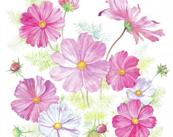 Paper napkin with flowers (cosmos) decor