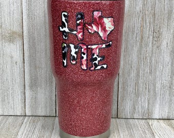 Rose gold glitter tumbler, Texas tumbler, Valentines gift