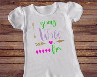 Young Wild Free Girls Short Sleeve Puff heart arrow Shirt