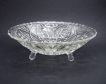 Vintage Anchor Hocking Fan and Arch Footed Bowl, Pressed Glass Bowl, Centerpiece Bowl, 3 Toed Bowl, Fruit Bowl, Crystal Bowl,