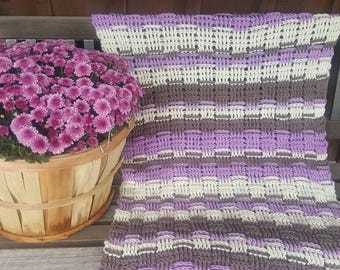 Baby Blanket, Lavender Gray and Cream Colors, Crochet Blanket for Newborn Baby, Baby Shower Gifts