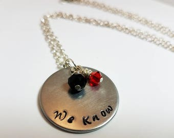 Skyrim Necklace We Know Jewelry Dark Brotherhood Hand Stamped Metal Assassin Necklace