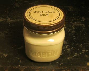 MOUNTAIN DEW // Soy Candle // Wood Wick // Mason Jar // Drink Scent // Soda Scent // Novelty Scent