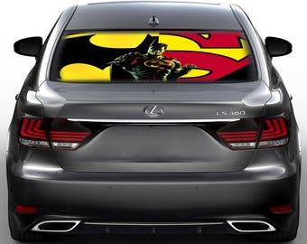 Superhero Shield Perforated Vinyl Decal Rear Window Car, See thru gc3296