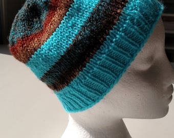 Blue Striped Stashbuster Knitted Hat