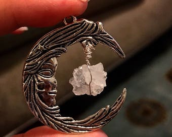 CRESCENT MOON crystal pendant