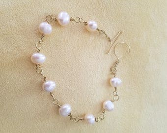 Pink Pearl Gold Chain Link Bracelet