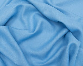 Pure Linen Fabric Light Blue Softened, 1 meter