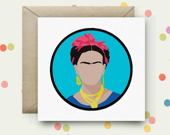 Frida Kahlo Square Pop Art Card & Envelope