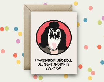 Gene Simmons Pop Art and Quote A6 Blank Greeting Card with Envelope