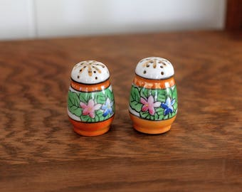 Vintage Hand-painted Lusterware Salt and Pepper Shakers, Floral Design, Made in Japan