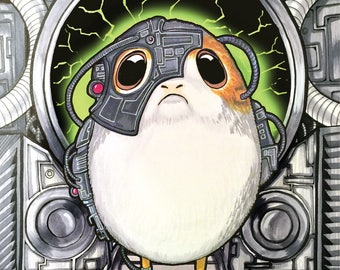 Lo-Cute-Us of Porg 11X17 print inspired by Star Trek and Star Wars!