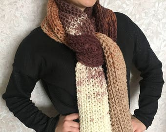 Hand Knitted Scarf-Knit Scarf-BEIGE-BROWN-WHITE-Gift-Free shipping!