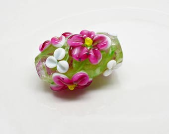 Extra Large Handmade Lampwork Focal Bead Green with Pink and White Flowers 28x20mm