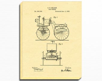 Engine Patent Print, Engine Canvas Print - 1895 Road Engine Patent - Automobile Art, Vintage Engine Print, Wall Art Print, Canvas Print