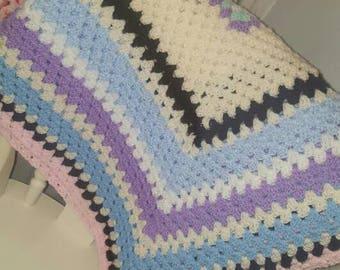 Handmade Multi-coloured Crochet Blanket/Throw