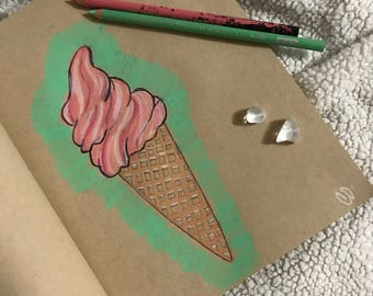 """Sweet """"Ice Cream Dreams"""" Colored Pencil Drawing"""