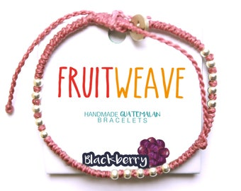 BLACKBERRY CLASSIC BRACELET, Guatemalan Bracelets, Handmade bracelets, colorful bracelets, fruit based, fruit weave, friendship bracelets.