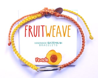 PEACH NEAT BRACELET, Guatemalan Bracelets, Handmade bracelets, colorful bracelets, fruit based, fruit weave, friendship bracelets.