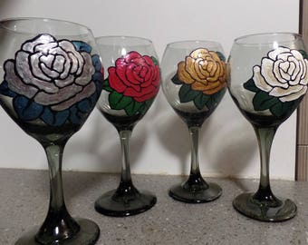 Sparkling Roses Wine Glasses - hand painted