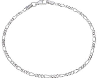 "Sterling Silver Figaro Bracelet 2mm 6.5"" 7"" 7.5"" inches"