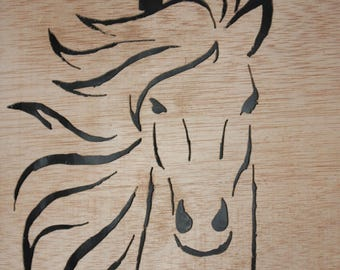 Wood carved horse portrait