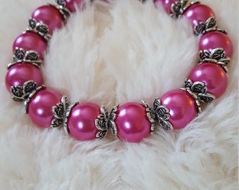 Magenta, hot pink, glass beaded handmade bracelet with silver accents, hot pink beads, magenta beads, valentines day gift