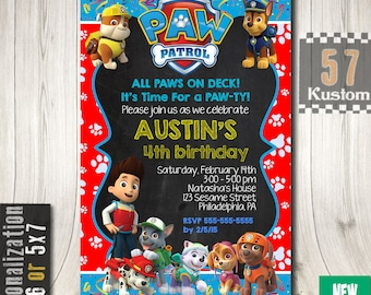 Paw Patrol Invitations, Paw Patrol Invitation Boy, Paw Patrol Birthday Invitation, Paw Patrol Party, Paw Patrol Birthday Party