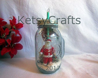 Country Drinking Mason Jar, Santa Claus, Handcrafted Candle made from plastic straw, and other Seasonal Embellishments.