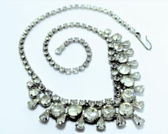 Vintage Clear Crystal 1950's Rhinestone Necklace