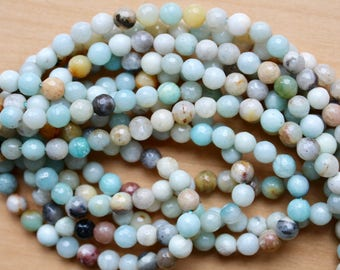 6mm Faceted Amazonite beads, full strand, natural stone beads, round, 60024