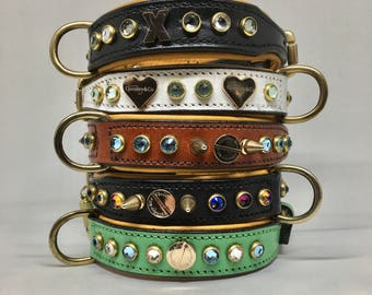 "SMALL DOG COLLAR Leather & Swarovski Crystal 11""-14"" handcrafted"
