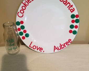Santa milk and cookies cup and plate