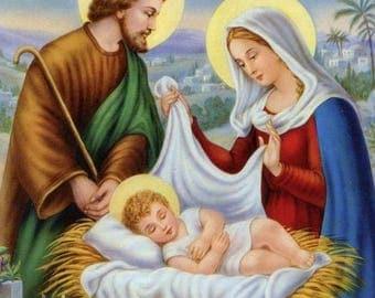 Holy Family Nativity  Merry Christmas 2.5 x 3.5 Fridge Magnet
