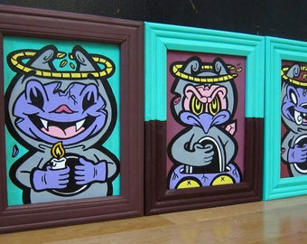 Deviant Miscreants // acrylic hand painted triptych // 5 x 7' urban art, Halloween // aqua green, burgandy, purple, graffiti art canvas
