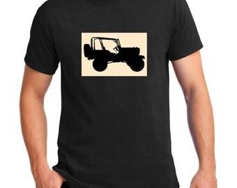 Jeep Wrangler TJ JK off road 4x4 old jeep grill t-shirt 100% cotton men's tee