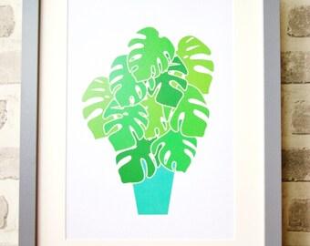 Monstera Swiss Cheese Plant Art Print A4