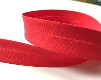 Plain bias cotton red bright 20 mm - Fillawant by DMC collar. 762
