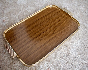 """Vintage Retro 1960s Anodised Wood-Effect Serving Tray by """"Sylvan"""", Gold Metal Edging, Can Be Used With """"Sylvan Hostess Trolleys"""", VGC"""