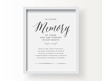 8x10_Black on White Wedding Sign_In Memory of ...