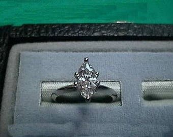 Cz Cubic Zirconia Marquise 14K White Solitaire Ring 1 carat Signity CZ