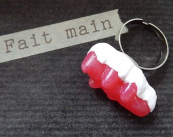 """Adjustable ring """"candy crocodile"""" Red"""