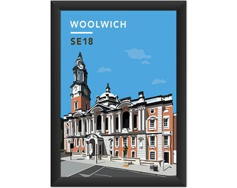 Woolwich Town Hall SE18 - Giclée Art Print - South London Poster